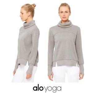 Alo Heather Grey Long Sleeve Fleece Sweatshirt